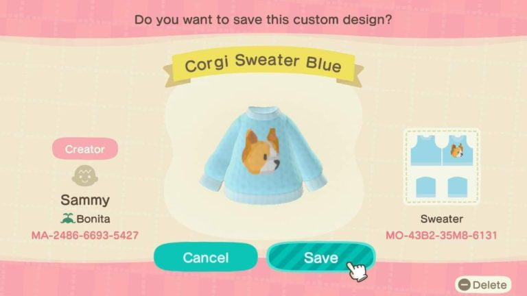 Corgi Sweater Blue